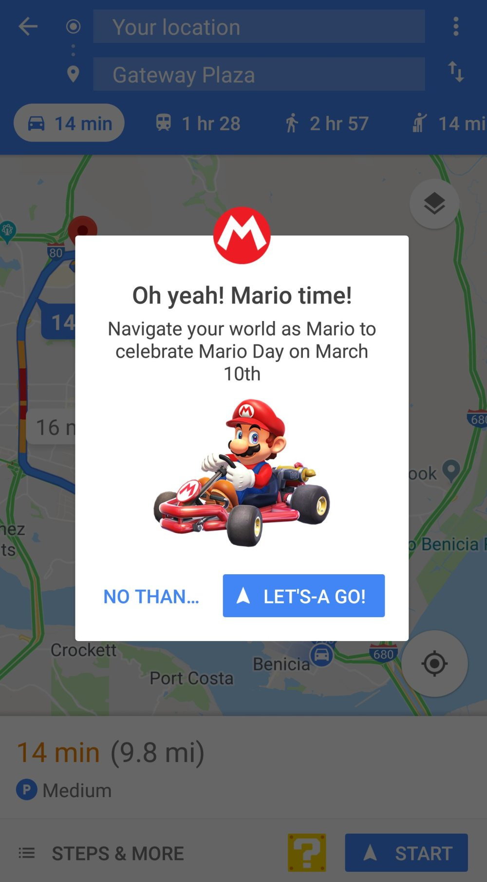 Mario Kart launch screen on Google Maps